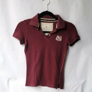📦💗 3 for $15 Abercrombie & Fitch burgundy polo S